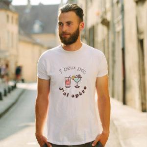 T-shirt en coton bio col rond Homme - J'peux pas j'ai apéro