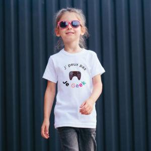 T‑shirt en coton bio col rond Enfant - J'peux pas je geek