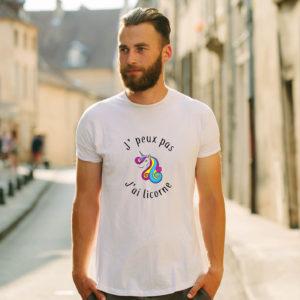 T-shirt en coton bio col rond Homme - J'peux pas j'ai licorne
