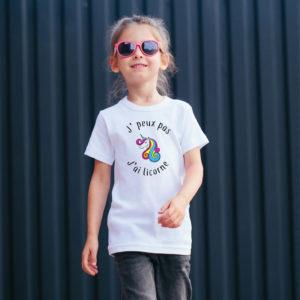T‑shirt en coton bio col rond Enfant - J'peux pas j'ai licorne