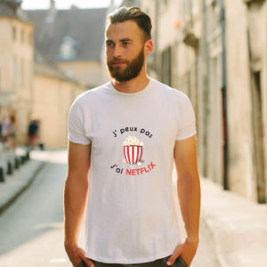 T-shirt en coton bio col rond Homme - J'peux pas j'ai Netflix