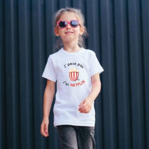 T‑shirt en coton bio col rond Enfant - J'peux pas j'ai Netflix