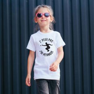 T‑shirt en coton bio col rond Enfant - J'peux pas j'ai pétanque