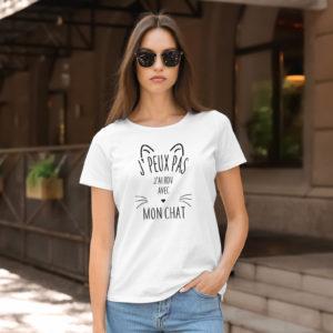 T-shirt en coton bio col rond Femme - J'peux pas j'ai rdv avec mon chat