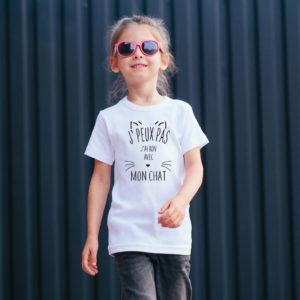 T‑shirt en coton bio col rond Enfant - J'peux pas j'ai rdv avec mon chat