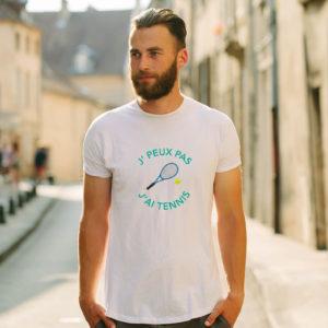 T-shirt en coton bio col rond Homme - J'peux pas j'ai Tennis