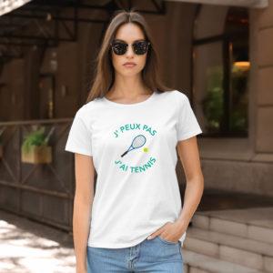 T-shirt en coton bio col rond Femme - J'peux pas j'ai Tennis