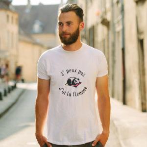 T-shirt en coton bio col rond Homme - J'peux pas j'ai la flemme