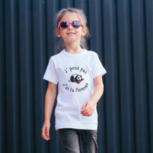T‑shirt en coton bio col rond Enfant - J'peux pas j'ai la flemme