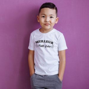 T‑shirt en coton bio col rond Enfant - Meilleur petit frère
